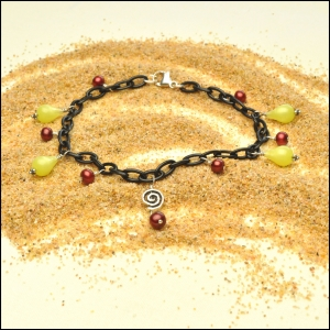 Black Anklet with Vintage Moonglow Lemon Drops and Cranberry Pearls