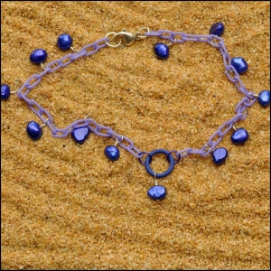 Lilac Anklet with Deep Blue Pearls