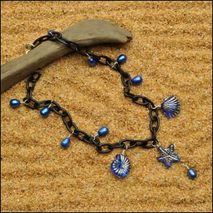 Black Anklet with Pearls & Sea Life