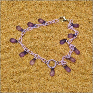 Lavender Anklet with Grape Teardrops
