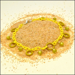 Lemon Yellow Lightweight Anklet with Olive Moonglow and O-Rings