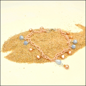 Peach Anklet with Pearls & Blue Moonglow