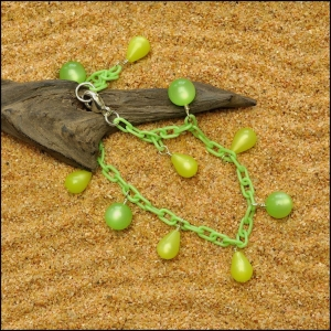 Kiwi Green Anklet with Margarita Teardrops