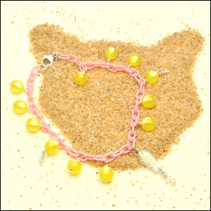 Pink Anklet with Lemon Yellow Moonglow Rounds