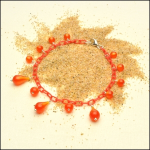 Lightweight Tomato Red Anklet with Moonglow Fireball Teardrops