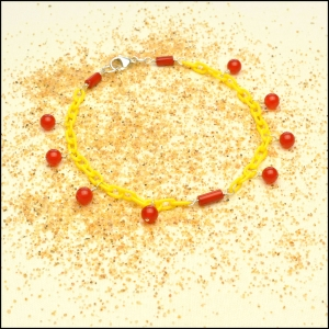 Lemon Anklet with Red Jade