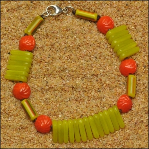 Vintage Orange Seashells and Chartreuse Flags Bracelet