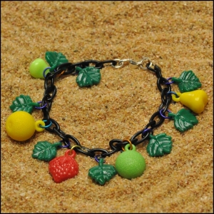 West German Vintage Fruit and Leaf Bracelet