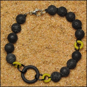 Lava Stone and O-Ring Bracelet