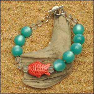 Aqua with Red Peruvian Fish Bracelet