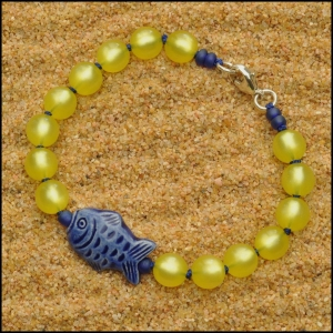 Yellow with Blue Peruvian Fish Bracelet