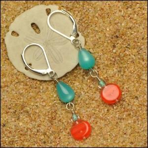 Aqua Teardrops with Orange Button Earrings