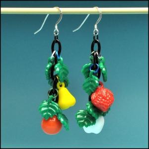 West German Vintage Fruit and Leaf Earrings