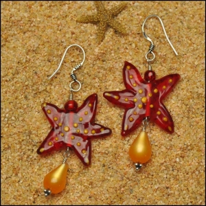 Red Starfish with Teardrop Earrings