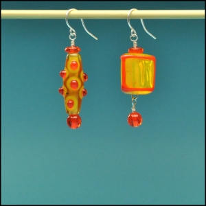 Sunglow Yellow and Orange Mismatched Earrings