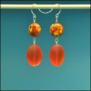 Mosaic and Tangerine Earrings