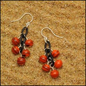Tangerine and Black Swirl Earrings