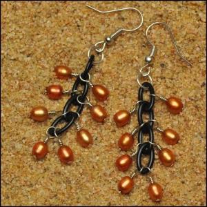 Tangerine Rice Pearl Earrings
