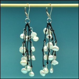 White Pearls on Black Earrings