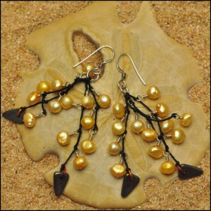 Golden Pearls and Dagger Earrings