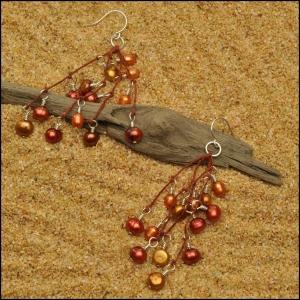 Copper, Bronze and Tangerine Pearl Earrings