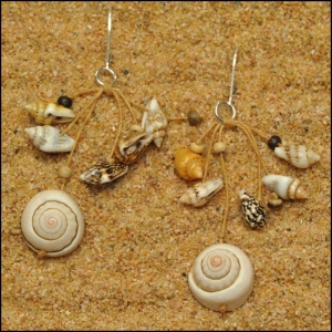 Nautilus Spiral Shell with Seashells and Coconut Earrings