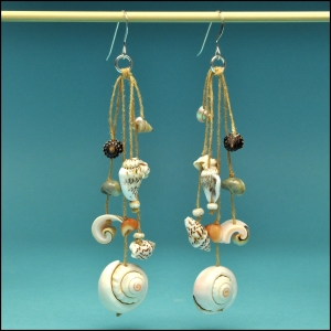 Spirals and Shells Dangle Earrings
