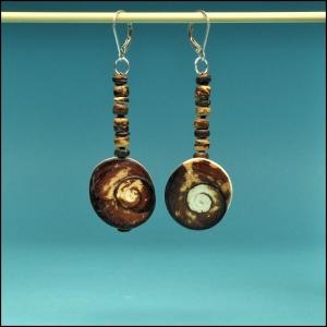 Cat's Eye Shell with Coconut Earrings