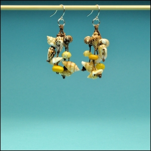 Yellow Mother of Pearl and Shell Earrings