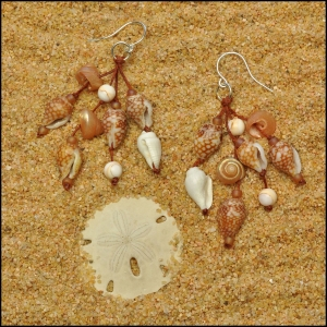 Coral and White Shell Earrings