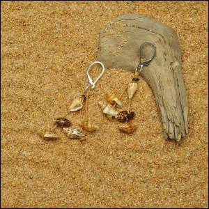Tan and Brown Nassa Shell Earrings